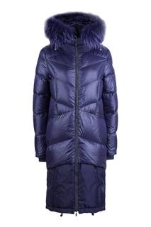 Стеганое пальто синего цвета Diego M