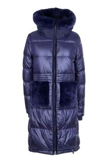 Синее стеганое пальто с мехом Diego M