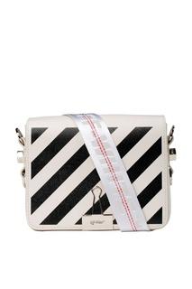 Белая сумка с черными полосками Off White