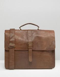Cтрогая светло-коричневая сумка сэтчел ASOS DESIGN-Коричневый