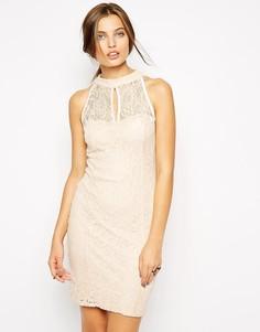 Кружевное платье с высоким воротом Jessica Wright-Розовый