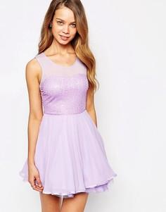 Короткое приталенное платье с плиссированной юбкой AX Paris-Фиолетовый