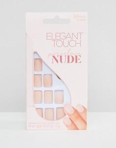 Накладные ногти с матовым оттенком Elegant Touch Nude Collection Squoval-Розовый