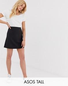 Юбка-трапеция мини ASOS DESIGN Tall Tailored-Черный