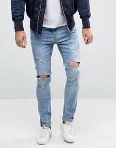 Рваные джинсы скинни Brave Soul-Синий