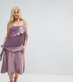 Атласное платье миди в стиле колор блок ASOS CURVE-Фиолетовый