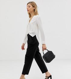 Зауженные брюки с завышенной талией ASOS DESIGN Petite-Черный