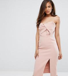 Платье миди бандо с большим бантом True Decadence Tall-Розовый