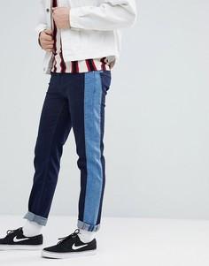Синие джинсы слим с полосками по бокам ASOS-Синий