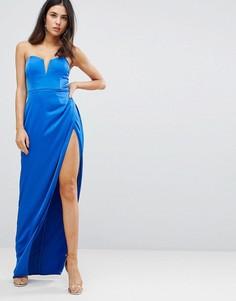 Платье-бандо макси с глубоким вырезом ASOS-Синий