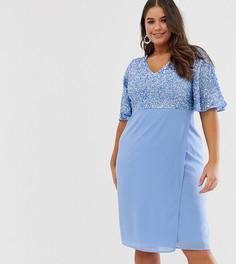 Платье-миди с рукавами клеш и отделкой пайетками Maya Plus-Синий