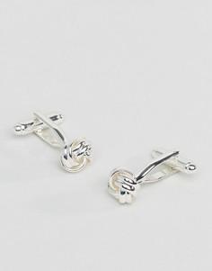 Серебристые запонки в виде узлов ASOS DESIGN-Серебряный