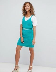 Пушистая вязаная юбка ASOS DESIGN-Зеленый