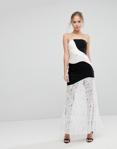 Платье макси с монохромными кружевными вставками Aijek-Мульти