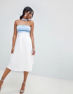Платье для выпускного колор блок со вставкой на горловине ASOS DESIGN-Мульти
