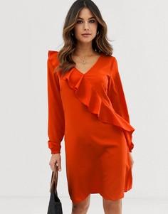 Платье с оборками Vila-Оранжевый