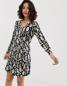 Платье миди с запахом и принтом металлик Vero Moda-Мульти