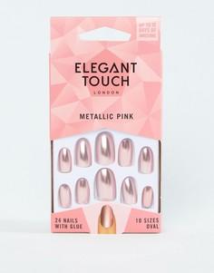 Розовые накладные ногти металлик Elegant Touch-Медный