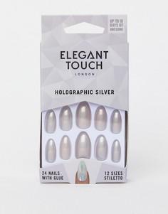 Серебристые накладные ногти с голографическим эффектом Elegant Touch Stiletto-Серебряный