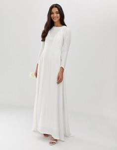 Свадебное платье со складками ASOS EDITION-Кремовый