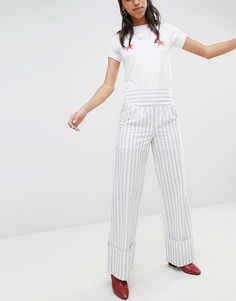 Широкие брюки в полоску с отворотами Lost Ink-Серый