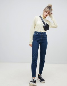 Выбеленные синие узкие джинсы в винтажном стиле с завышенной талией и открытой ширинкой на пуговицах ASOS DESIGN Farleigh-Синий
