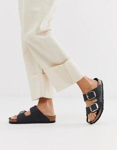 Кожаные сандалии с большими пряжками Birkenstock - arizona-Черный