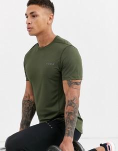 Спортивная футболка цвета хаки из быстросохнущей ткани ASOS 4505-Зеленый