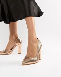 Розово-золотистые туфли на блочном каблуке Glamorous-Золотой