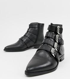 Кожаные ботинки с пряжками ASOS DESIGN-Черный