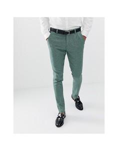 Зеленые супероблегающие брюки в клетку из ткани с добавлением шерсти ASOS DESIGN wedding-Зеленый