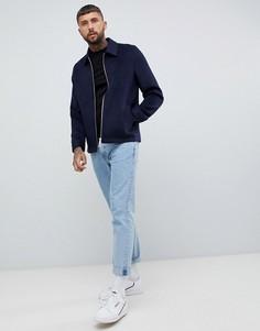Темно-синяя куртка на молнии из материала с добавлением шерсти ASOS DESIGN-Темно-синий