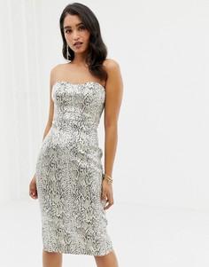 Жаккардовое платье-бандо мини со змеиным принтом и эффектом металлик Forever New-Мульти