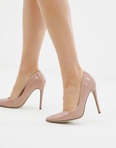 Розовые лакированные туфли-лодочки на каблуке Missguided-Золотой