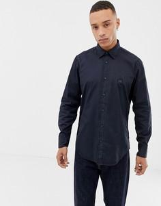 Темно-синяя окрашенная рубашка BOSS-Темно-синий