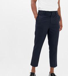 Темно-синие укороченные строгие брюки заниженного кроя Noak-Темно-синий