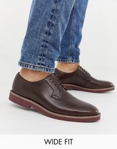 Коричневые кожаные туфли на шнуровке для широкой стопы ASOS DESIGN-Коричневый