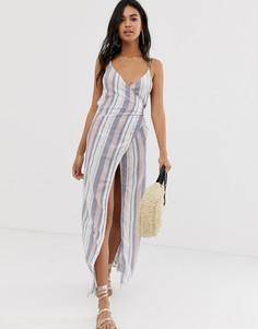 Пляжное платье макси в полоску с запахом ASOS DESIGN-Мульти