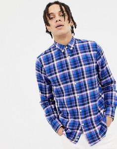 Синяя фланелевая рубашка классического кроя в клетку с воротником на пуговицах Penfield Barhead-Синий