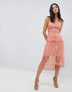 Кружевное платье на бретельках с вышивкой Hope & Ivy-Оранжевый