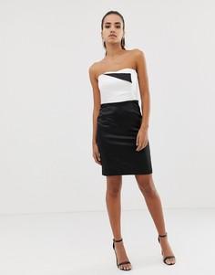 Черно-белое платье-футляр бандо Morgan-Мульти