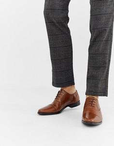 Светло-коричневые кожаные оксфордские туфли со вставкой на носке ASOS DESIGN-Светло-коричневый