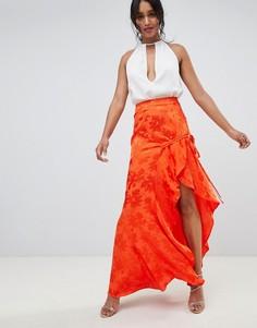 Жаккардовая юбка макси со сборками ASOS DESIGN-Оранжевый