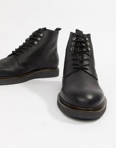 Черные кожаные ботинки на шнуровке H By Hudson-Черный