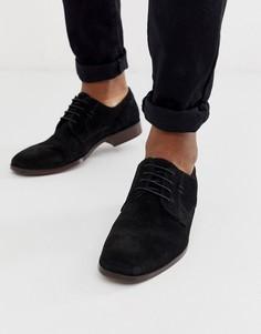 Черные замшевые туфли с натуральной подошвой ASOS DESIGN-Черный