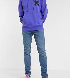 Синие выбеленные джинсы скинни COLLUSION x001-Синий