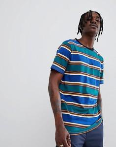 Синяя футболка в полоску с эффектом деграде и вышивкой на груди Globe-Синий