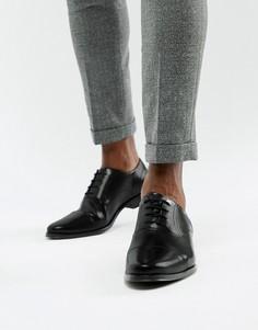 Черные кожаные оксфордские туфли со вставкой на носке ASOS DESIGN-Черный
