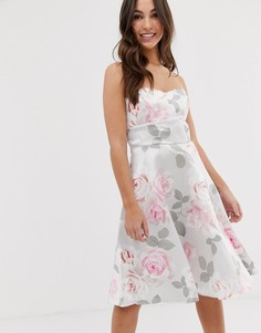 Приталенное платье для выпускного с цветочным принтом City Goddess-Серый