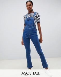 Синий джинсовый комбинезон с расклешенными штанинами ASOS DESIGN Tall
